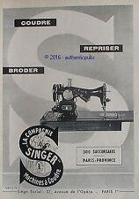 PUBLICITE SINGER MACHINE A COUDRE ELECTRIQUE BRODER COUDRE DE 1952 FRENCH AD PUB