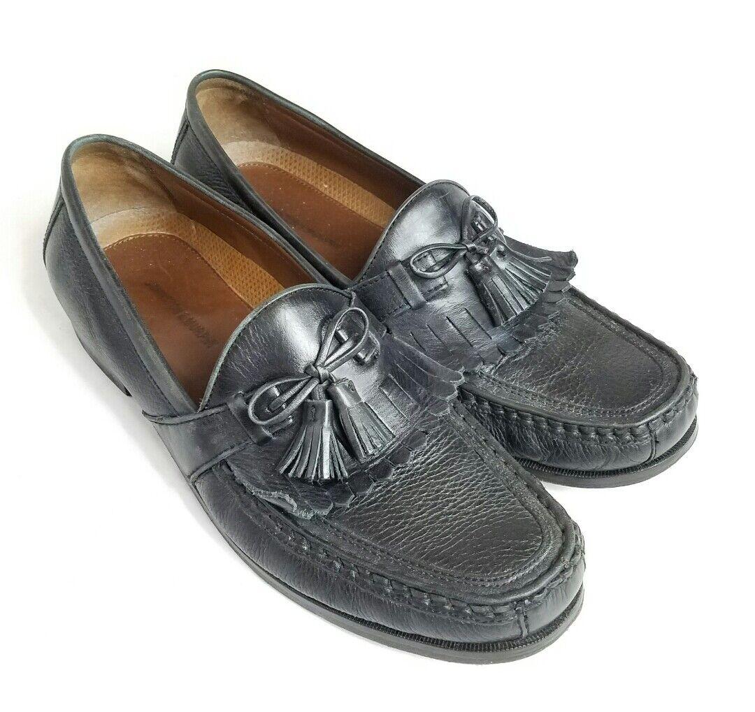 Johnston & Murphy Aragon II Men's Black Sz Leather Tassel Loafer Shoes Sz Black 12 M 4408a9