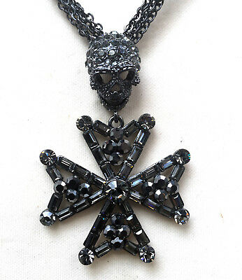 Butler and Wilson Clear Crystal Skull Cross Chunky Chain Necklace or Brooch NEW