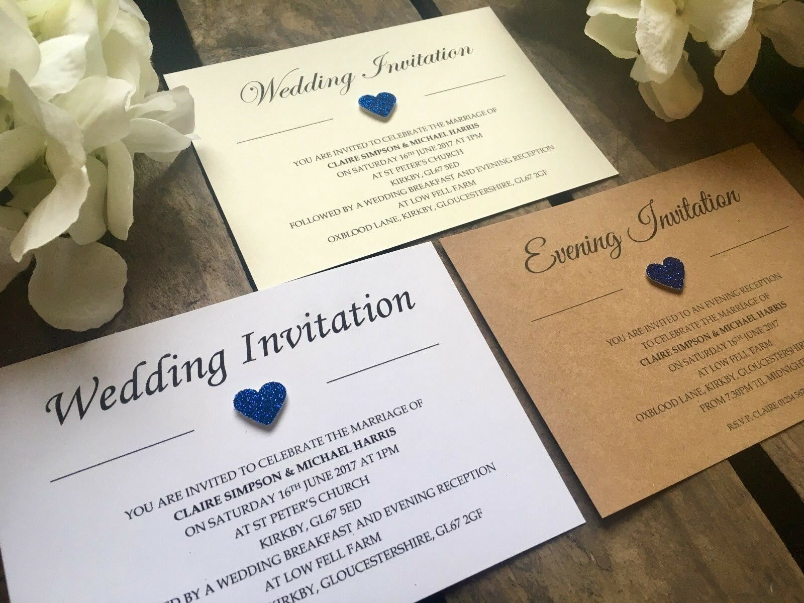 Personalised Royal Blau Glitter heart Wedding   Evening Invitations