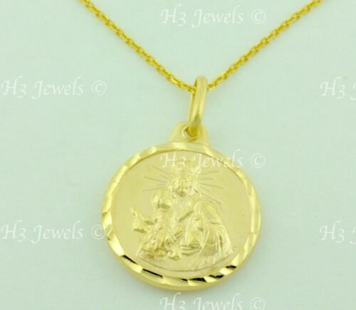 14k yellow gold Blessed VIRGIN MARY Jesus round pendant #6588 1.80gr 2 side