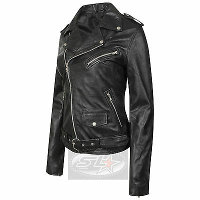 Romantisch Womens Black Vintage Classic Biker Style Brando Faux Leather Fashion Jacket NüTzlich FüR äTherisches Medulla