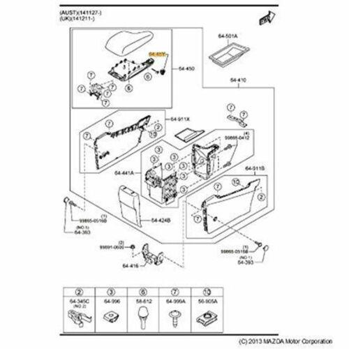 Neu Zentrum Konsole Deckel Schloss Lid KA0G-64-45YA-02Passt für Mazda CX-5 13-16