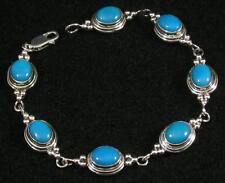 ".925 Sterling Silver Oval Dyed Blue Coral Cabochon Gemstone Bracelet 7 3/4"""