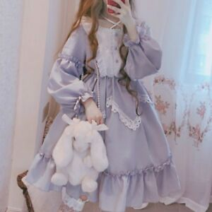 Lady-Lolita-Dress-Lace-Ruffle-Long-Puff-Sleeve-Dolly-Skirt-Fairy-Costume-kawaii