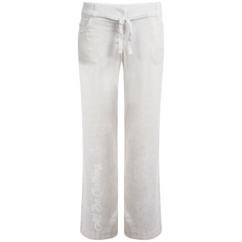 ButtonFly Fastening In White /& Stone Sizes 8-16 Womens Wide Leg Linen Trousers