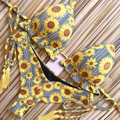 Bikini Set Swimwear Bathing Suit Lace-up Floral Padded Bralette Bra Beachwear
