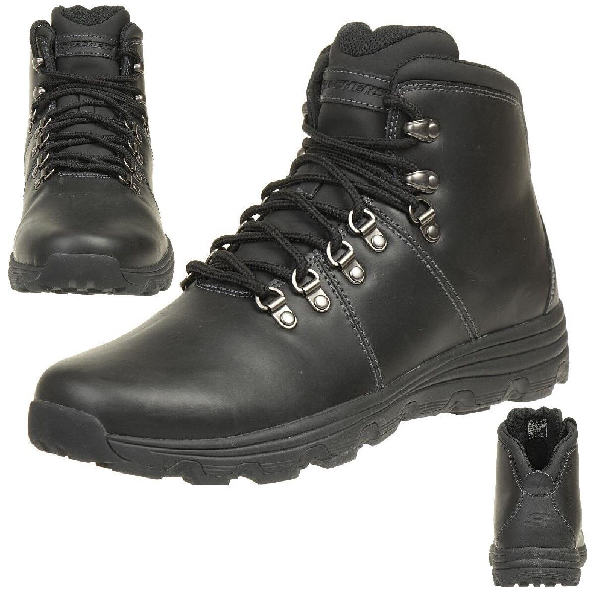 Skechers formato Impermeables edgin Botas outdoor Zapatos Impermeables formato Relaxed Fit BLK fb7374