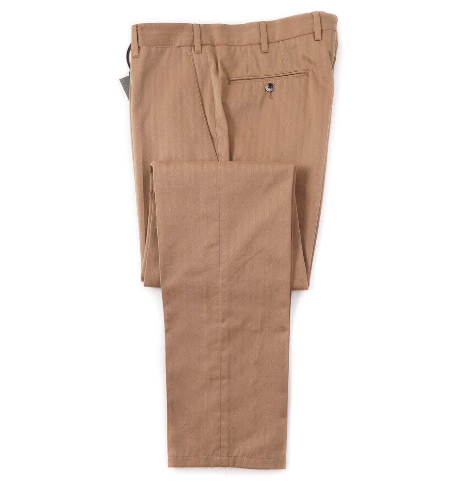 New  BOGLIOLI Tan-Pink Herringbone Cotton Dress Pants Slim 32 W (Eu 48)