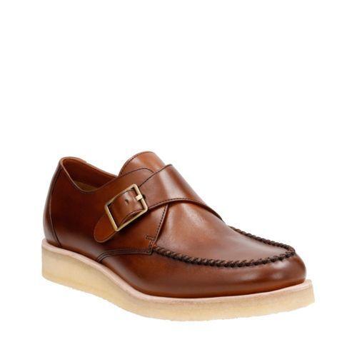 Clarks Men's Burcott Monk Cognac Leather Casual shoes Style   26122988