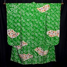 "Vintage Japanese Furisode Kimono Robe Woman's Silk ""Lucky Green"""