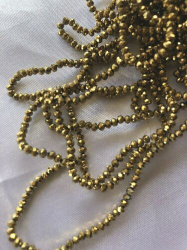 2 mm Faceted Electroplated Gold Bling Glass Abacus Beads 200 per strand