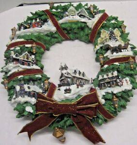 Thomas Kinkade Christmas Village Wreath Coa M0797 The Hamilton