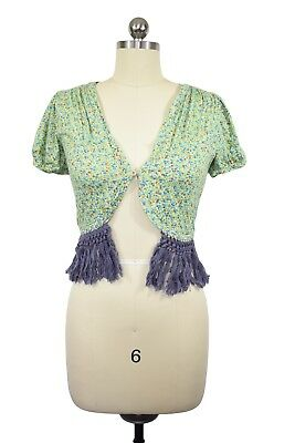 Lux Anthropologie Cardigan Size S Cropped Green Floral Fringed Short Sleeve