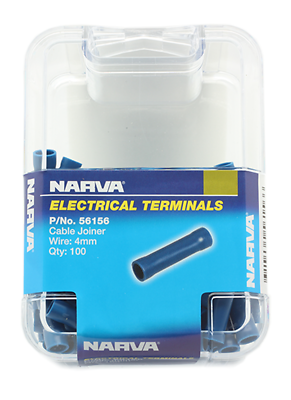 NARVA TERMINALS CABLE JOINER INSULATED 56156 WIRE 4mm BLUE PACK OF 100