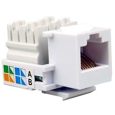 100x RJ45 Network Keystone Jack Cable Wall Adapter Plug Cat5e LAN Plastic Module