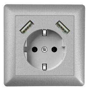 230 V USB-Steckdose, passend für Gira System 55, JUNG AS 500, uvm., Silber, Alu