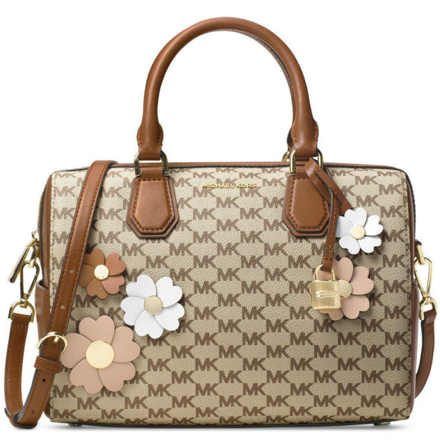 20d82e40a480 Michael Kors Flora Appliqué Mercer Medium Duffle Bag Natural Luggage 18K GP  NWT