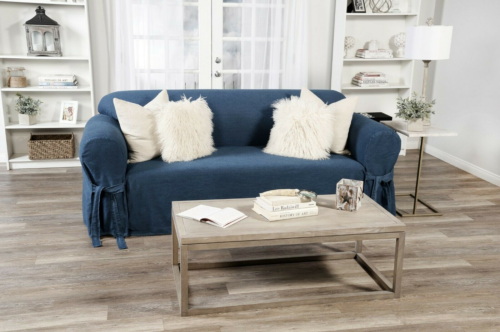 Picture of: All Cotton Blue Denim 2 Piece Sofa Loveseat Chair Slipcover 2 Pillows For Sale Online Ebay