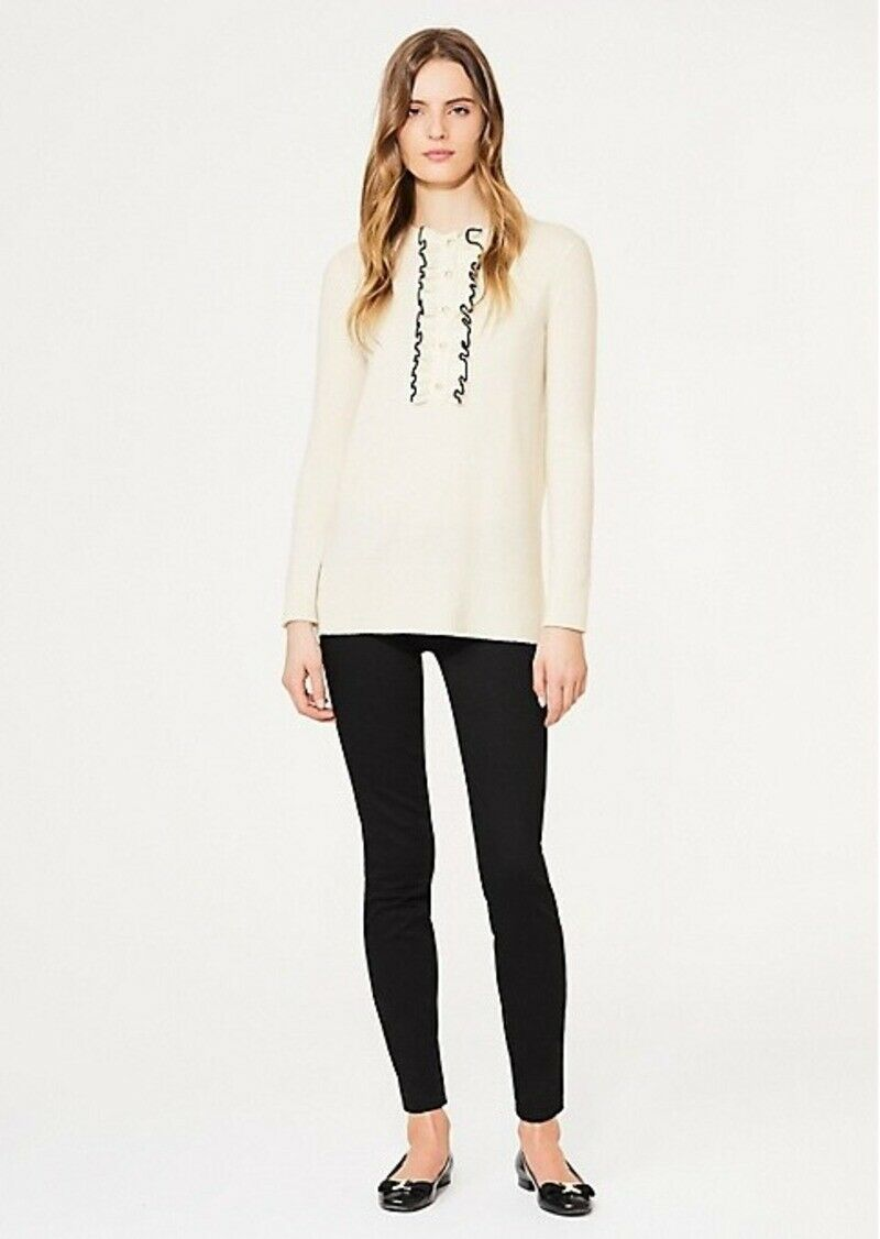 TORY BURCH EMILY CASHMERE  SWEATER RUFFLE PEARL BUTTONS IVORY L-XL NEW  350  mas barato