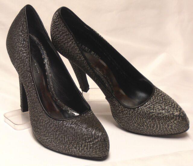 4395a62595a GIANNI BINI Brazil Size 9 M Silver Lamé Fabric Covered Platform High-Heel  Pumps