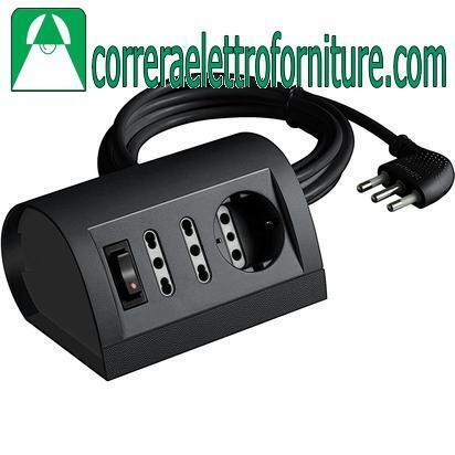 BTICINO S3711GB Multipresa elettrica ciabatta scrivania con interruttore nera an