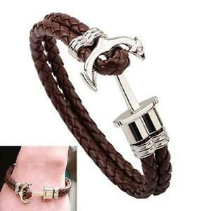 Leather-Braided-Bracelet-Men-Silver-Plated-Surfer-Anchor-Braided-Knitting-Charm