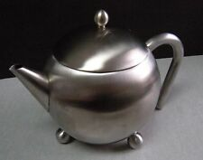 UNIQUE Vintage  Footed Aluminum Teapot w/ Strainer Insert & Aluminum Handle