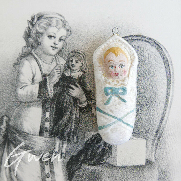 Ancienne Décoration de Noel Bébé Poupée Jesus Emmailloté Papier Maché Allemagne