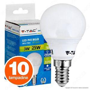 10 LAMPADINE LED V-TAC E14 MiniGlobo P45 3W Mini Sfera Luce Calda Neutra Fredda