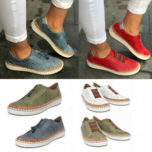 Women-039-s-Casual-Hollow-Out-Breathable-Round-Toe-Slip-On-Flat-Sneakers-Shoes-Size