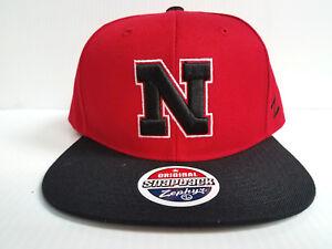 637eabb1203 Nebraska Huskers Zephyr Cap Flat Brim Snapback Z11 Invert Hat NCAA ...