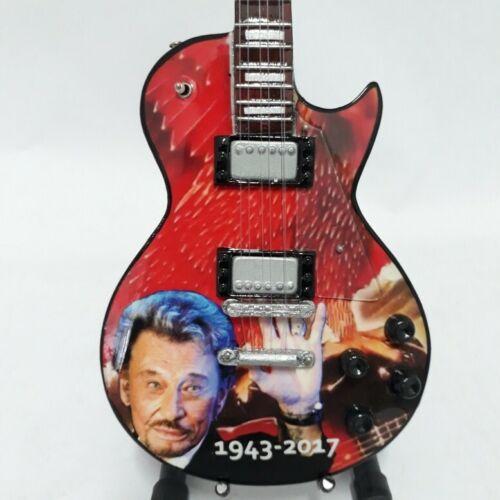 "Nouvelle guitare miniature /"" JOHNNY HALLYDAY 1943-2017  /"" avec support"