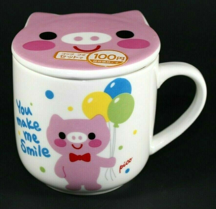 Details about Daiso Japan Covered Coffee Mug Pig: You Make Me Smile Tea Cup