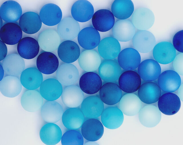 20 Stück Polarisperlen rund Perlenmix Perlenmischung blau türkis