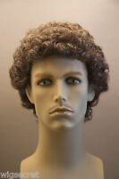 Chestnut Brown With 25% Grey Grey Curly Men Wig