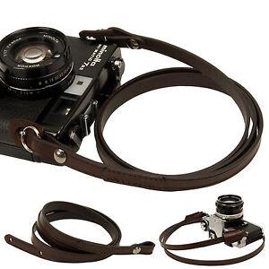 Dark-brown-whole-leather-Camera-neck-shoulder-strap-for-Film-SLR-DSLR-RF-Leica