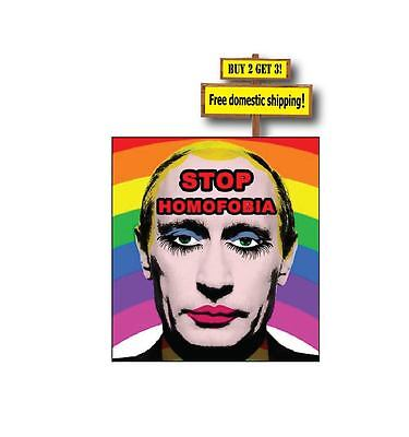 Gay Rights STOP HOMOFOBIA Putin Russian Banned image decal//sticker Pride 3.3x3.5