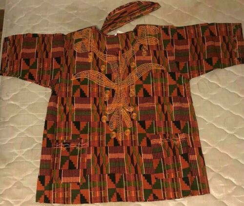 Dashiki African Mens Womens Kente Print Shirt Hippie Blouse Ethnic Top One Size