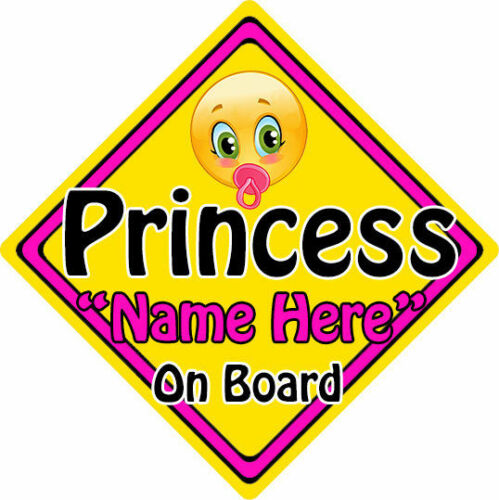 Personalised Child//Baby On Board Emoji Car Sign ~ Princess On Board
