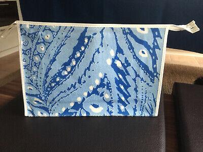 Kulturtasche Kulturbeutel DDR VEB original Rarität Malimo//Frottee blau gepunktet