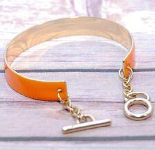 Enamel Bracelet Orange & Gold Toggle Clasp