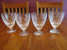 Four Heavy Oversize Clear Glass Scroll Fleur De Lis Goblets Ice Tea Glasses