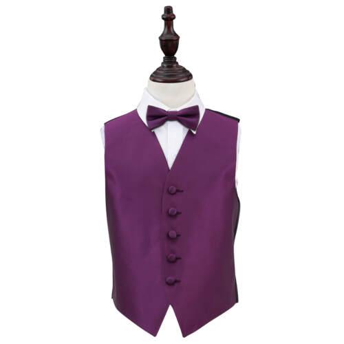 DQT Boys Waistcoat Bow Tie Set Plain Solid Check Wedding Vest FREE Pocket Square