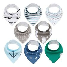 Baby Bandana Drool Bibs,Baby Dribble Bibs with Snaps 8 pack Baby Shower Gift Set for Teething and Drooling,Super Absorbent Cotton,Feeding Bibs For Newborns Boys Girls Infants Toddlers Bib-BlueWhite