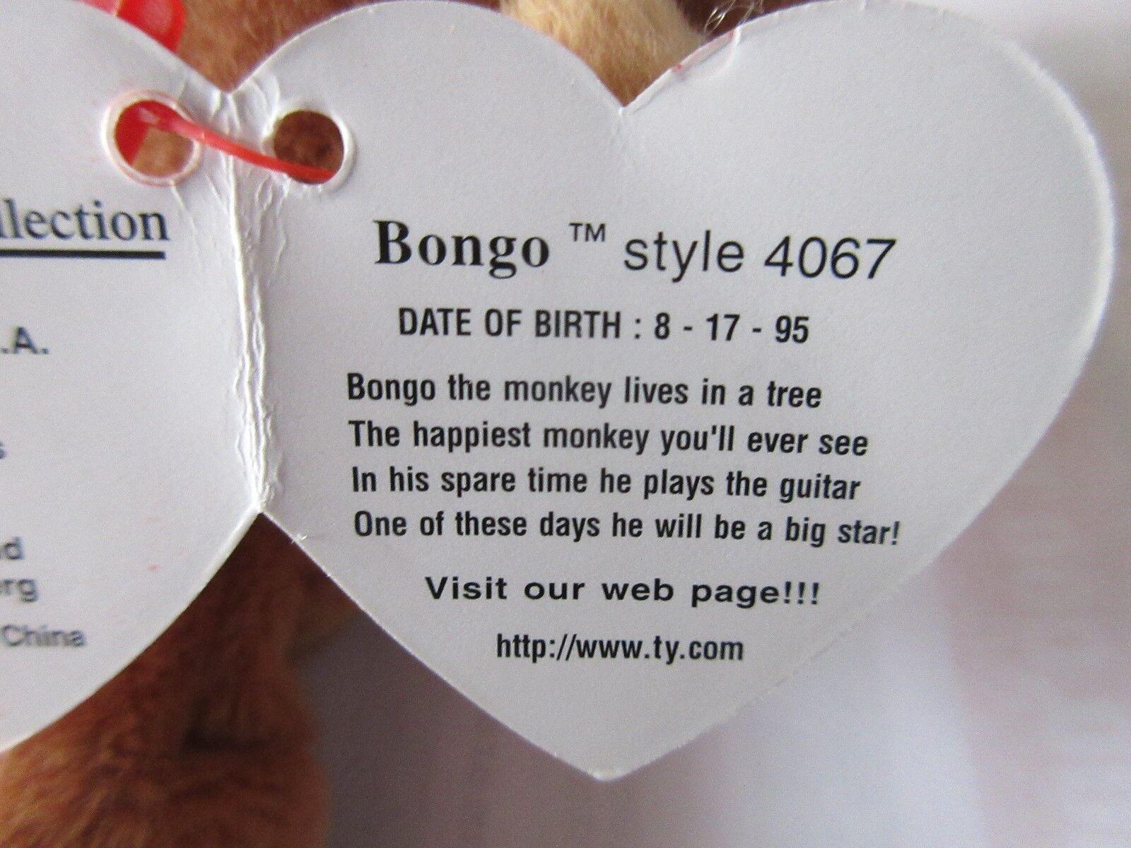 TY Beanie Baby , Original , BONGO , Style 4067 , 1995 T