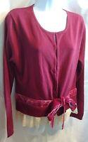 Chadwicks Burgundy Sweater Velvet Ties, Hook & Eye Closure Size L Nwt,