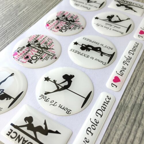 Pole dance fit dancing stripper woman 3d domed sticker set