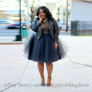 Details about Fashion Street Style Plus Size Tulle Skirt Knee Length Tutu  Skirts Spring Autumn
