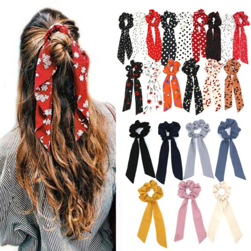 1PC Ponytail Scarf Hair Rope Boho Hair Bow Ties Floral Bow Scrunchie